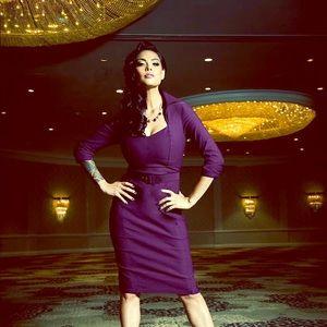 Pinup Girl Clothing Lorelei Dress Plum Bengaline M
